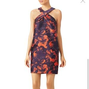 Trina Turk navy and orange floral cocktail dress